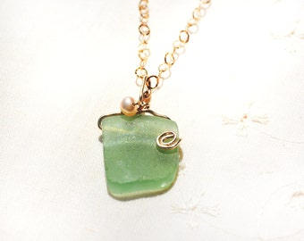 Roman Glass Necklace Green Roman Glass& Pearl Pendant Necklace Gold Filled Chain Necklace Roman Glass Jewelry Israeli Necklace Free Shipping