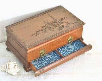 Large Carved Jewelry Box Vintage Organizer Storage Oriental Bright Blue Silk Brocade Lining Mid Century Secret Drawer Chinese Dragon