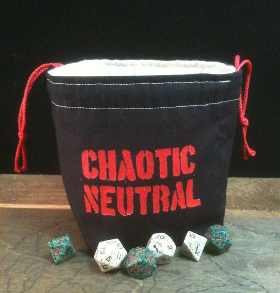Bright Red Chaotic Neutral Dice Bag
