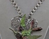 Handmade Hummingbird On Silver Filigree Fantasy Statement Necklace  Art Necklace Hand Painted Assembled 22 Inch Book Chain