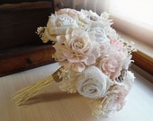Rustic Pink & Blush Bouquet, Rustic Burlap Country Style Weddings. Made to Order.