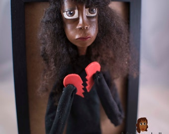 Octavia, Melandolly Paper Clay Doll in a Frame