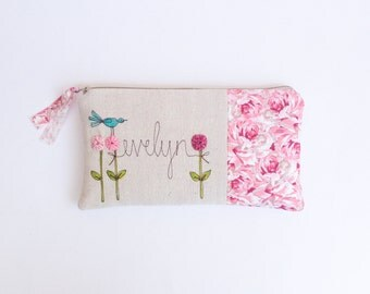 Baby Shower Hostess Gift, Personalized Cosmetic Bag, Pink Clutch Purse with Name, Thank You Gift under 50, Your Color Choice MADE TO ORDER
