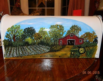 Cotton Field and Red Barn Hand Painted Mailboxes