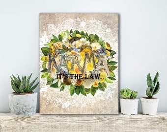 ON SALE 20% OFF Karma - Stretched Canvas print, mixed media collage art, typographic print, canvas art, canvas wall art, floral bohemian wal