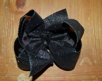 SSD  Solid BLACK Glitter Boutique Hairbow Sassy Sweet Designs Custom