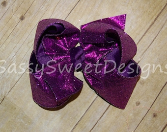 SSD Solid PURPLE Glitter Boutique Hairbow Sassy Sweet Designs Custom