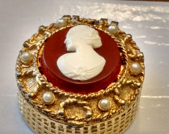 A Flower In Her Hair ~ Golden Pearl Cameo Pill Box