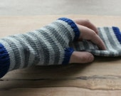 Knit Fingerless Gloves, Fingerless Mittens, Striped Fingerless Gloves Knit Gauntlets Wrist Warmers Arm Warmers Blue and Grey Gray Fingerless