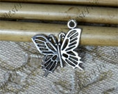 12 pcs of Antique Silver charming butterfly pendant,metal finding 19x20mm, butterfly findings beads,butterfly pendant beads findings
