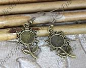 3 pair Antiqued brass Earwires Hook With round Cabochon Pad,Flower Earrings hook,earrings finding base,earring base findings