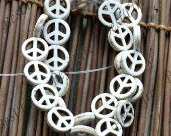 15inch 15mm Single white peace symbol turquoise gemstone beads,Turquoise nugget jewelry, Gemstone Bead loose beads,turquoise findings beads