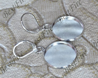 2pairs 12-25mm platina tone Earwires Hook With Round Cabochon Pad,Flower Earrings hook,earrings finding base