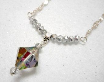 Swarovski Dangle Pendant, Swarovski Necklace, Crystal Pendant Necklace, Vintage Crystal Necklace