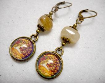 Rutilated Quartz Goddess Earrings
