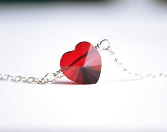 Red Crystal Heart Necklace Sterling Silver