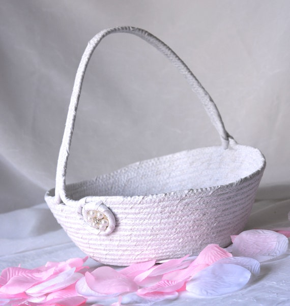 Flower Girl Basket, Handmade White Wedding Basket with Pearl Florette, Lovely White Glitter Basket, hand wrapped and hand coiled fabric