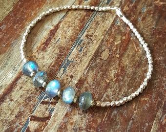 Labradorite Bracelet Beaded Bracelets Pyrite Bracelet Hill Tribe Silver Bead Bracelet Labradorite Jewelry Womens Gift for Women Wife Gift