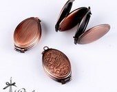 2pcs Antique Red Copper Raw Brass Vintage Folding Locket Pendant  Charms/Pendants- 35X20mm (LOCK-91)