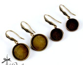 10pcs 12mm 16mm Antique Bronze finish base tray earring Ear Wires- cabochon With Round 12mm 16mm base   (EAR-108.109)