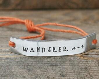 WANDERER Bracelet ONE Custom Hand Stamped Jewelry Name Tie On Hemp Cord Personalized Friendship Style Adventure Travel Gypsy