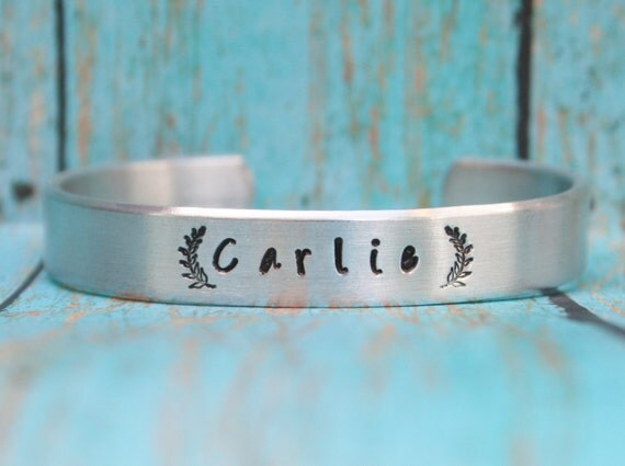 Stamped NAME BRACELET Laurel Wreath Cuff Silver Aluminum Hand Stamped Name Several Sizes Women Girls Boys Toddler Childrens Jewelry