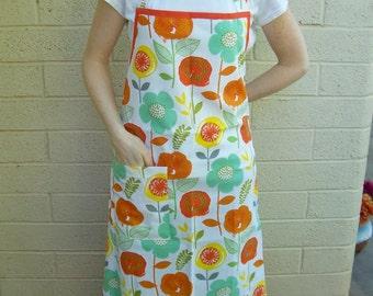 Women's Full Apron with Large Orange Flowers - Handmade Apron, Butcher Apron, Women's Apron