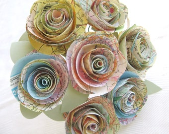 """The Stephanie Jr vintage atlas map wedding bridesmaid toss bouquet with 3"""" spiral cabbage roses and leaves"""