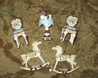 Five Vintage Christmas Ornaments Ornate Victorian Antique Style Rocking Horses Chairs Table With Roses Gold Trim Hand Painted