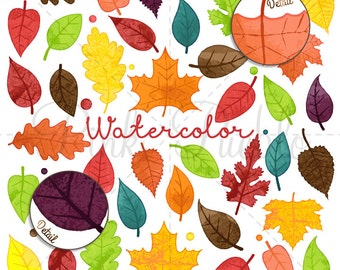 Watercolor Leaves Clipart Clip Art, Autumn Fall Thanksgiving Leaf Clipart Clip Art Vectors - Commercial and Personal Use