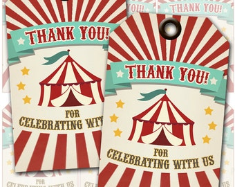 Circus Party Thank You Tags, Instant Download, Print Your Own