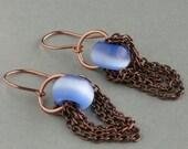 multi layer chain blue cat's eye earrings