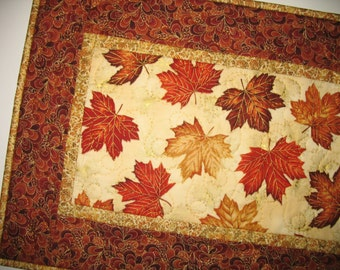 Autumn Table Runner with leaves, metallic, quilted, focus fabric from Hoffman
