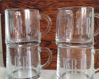 4 Vintage Garrick Glass France Clear Coffee Espresso Tea Cups Mugs Monogram WRB
