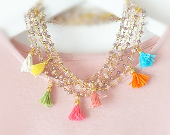 Layering Beaded Necklaces - Bridesmade Jewelry - Multi Pink Purple Necklace - Pastel Tassel Necklace - Set of 4 - Wedding Jewelry