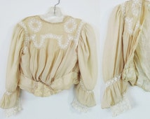 Victorian Silk and Lace Blouse Heirloom Handmade Petite Size Made by Hand Pintucking Inset Antique Lace  Free Shipping