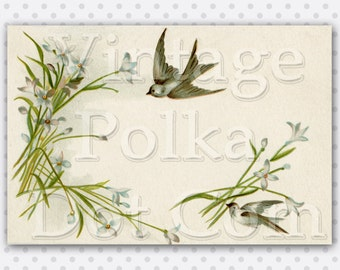 Vintage Clip Art Swallows Flowers Border Printable Card Graphic Art Victorian Birds Nature Digital Instant Download Scrapbook Craft Print