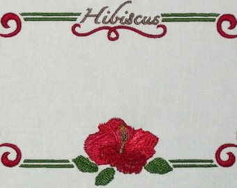 Hibiscus floral embroidered quilt label to customize with your personal message