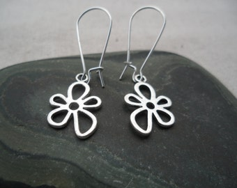 Silver Flower Earrings - Dangle Drop - Whimsical Silver Earrings - Earthy Nature Inspired