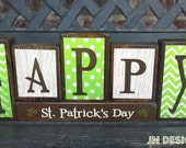 SALE--St Patrick's day wood blocks- Happy St. PAtrick's Day