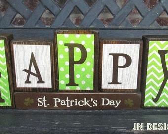 St Patrick's day wood blocks- Happy St. PAtrick's Day