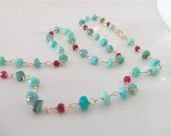 Peruvian Opal and Ruby Natural Gemstone Wire Wrapped Handmade Necklace with 14k Gold Fill