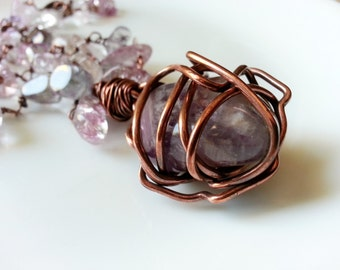 Copper amethyst pendant necklace.