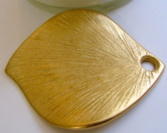 2.75 inches Gold Plated Gold Dip Pendant Leaf Texturized