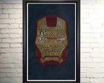 Iron Man's Mask Word Art--  Avengers Art
