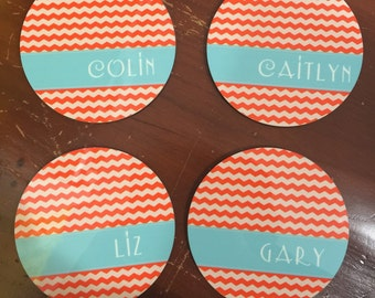 Personalized Coasters - set of 4 Free Shipping