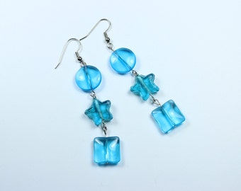 "Earrings - Blue Glass Beads - Stars - Circles ""Wishing on a Star"""