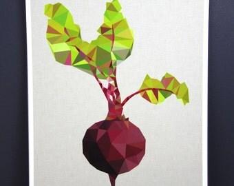 Original Beetroot australian geometric art original print local artist