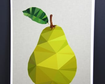 Original Pear fruit australian geometric art original print local artist