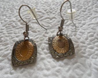 Antique Art Deco Cuff Link Pierced Earrings
